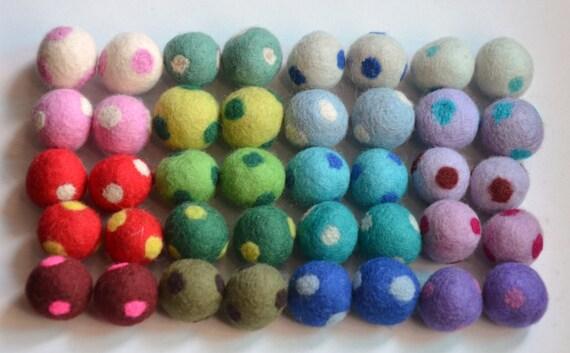 40 Pcs Mix Colors Polka Dots Wool Felt Balls (1cm, 1.5cm, or 2cm)