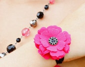 Pink Felt Flower Wristlet/ Pony Tail Holder