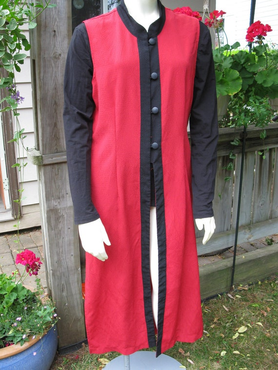 Vintage 1970s Long Boho Vest Asian Red Hippie Artsy Funky Remember Maude