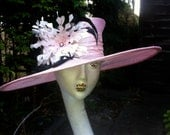 Baby pink hat with feather trim