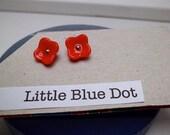 Coral red post earrings, Red flowers earrings, Fall in red, SALE