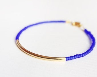 cobalt gold bar bracelet - minimalist layering jewelry - beaded friendship bracelet / gift for her