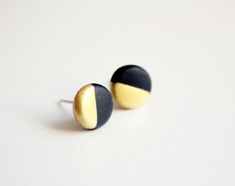 gold dipped black disc - minimalist geometric studs - gift for her