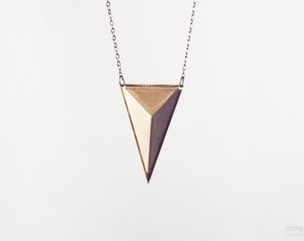 pyramid triangle necklace - geometric jewelry / gift for her