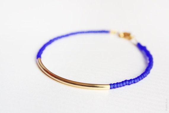 cobalt gold bar bracelet - minimalist layering jewelry - beaded friendship bracelet / gift for her
