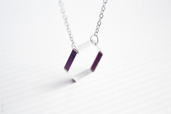 hexagon necklace -  geometric jewelry - delicate minimalist / gift for her