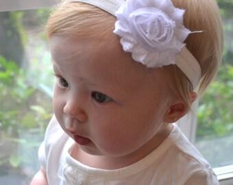 Baby headband, infant headband, White  shabby chic headband, newborn headband, newborn photo prop, girl accessories, baby, infant, Baptism