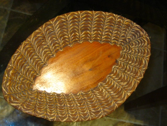 Antique PINE NEEDLE BASKET Signed, Authentic Early Americana Basket & Wood Bowl Stitched and made By Helen Dickerson, Colorado Pioneer 1915