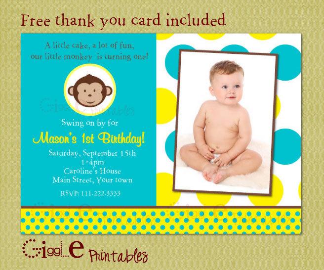 Boy Mod Monkey Birthday Invitation - FREE thank you card included