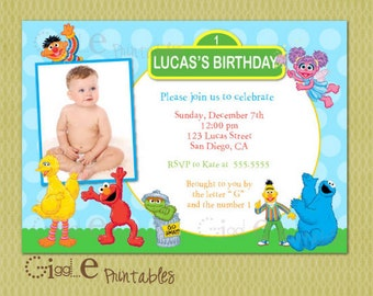 Elmo Sesame Street Birthday Invitation