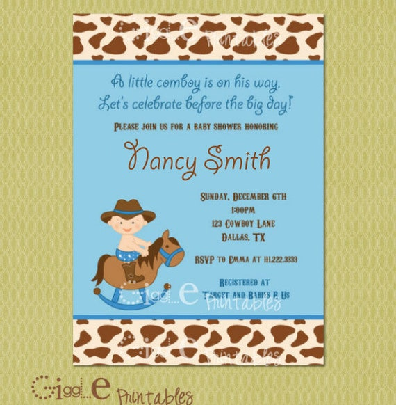 Cowboy Baby Shower Invitation Free thank you card included