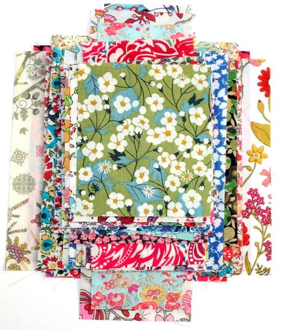 Liberty Fabric Scrap Bag Patchwork Quilting Craft 51 nr Tana Lawn Fabric Pieces