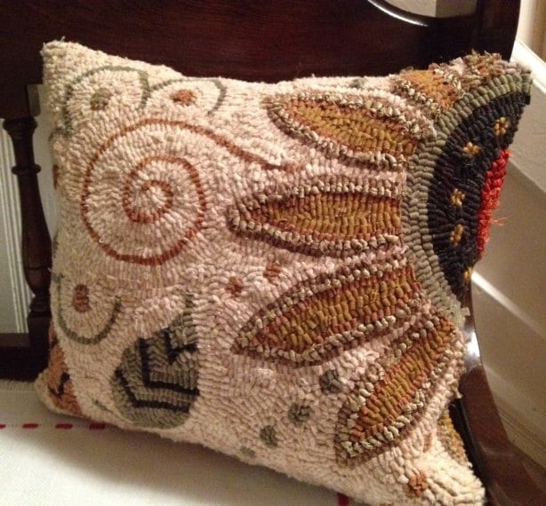 Sunflower Hooked Rug Pillow