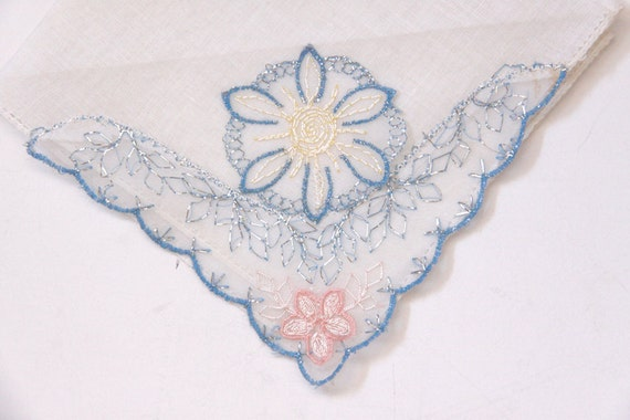 Linen Embriodered Handkerchief Vintage Hankie - White with Blue Pink and Silver