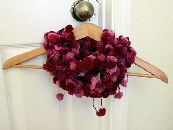 Crocheted Pom Pom Scarf Handmade Thin Plum Pink Tones Pom Pom Yarn - New and ready to ship