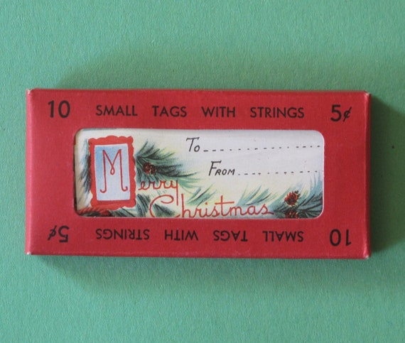 Vintage Box of Christmas Gift Tags - 2 Designs -  Merry Christmas and Puppy - 1940s