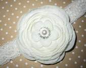 Ivory and Pearl Flower Headband by Moda Vida Boutique