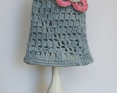 Lampshade crocheted grey-blue with pink flower detail light fitting