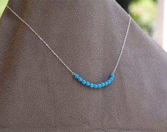 Turquoise Blue Sterling Silver Necklace - Bright Blue Beaded Necklace on solid 925 Sterling Silver - Wire Wrapped, Bead Bar Necklace