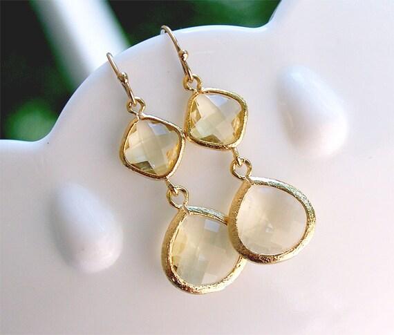Gold Earrings - Citrine Yellow Earrings - Lemon Quartz Glass Earrings in Gold - Yellow Dangle Earrings Yellow Bridesmaid Jewelry Gift