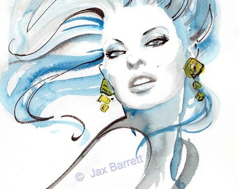 The Gold Earrings - Fashion Illustration Giclee Print by Jax with FREE Shipping