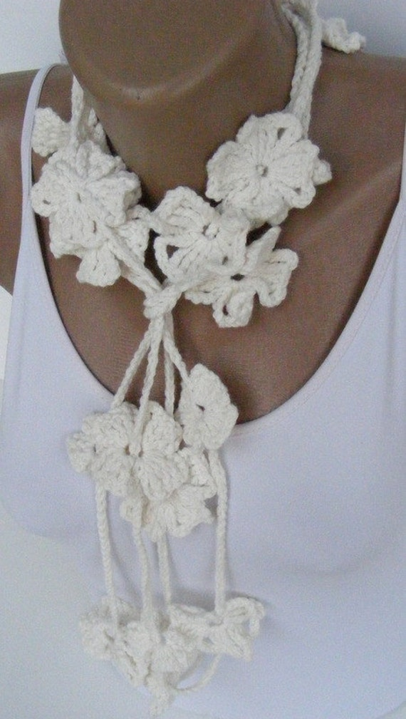 White Bamboo Flower Hand Crochet Lariat Scarf ,Bamboo Yarn,soft,all seasons,fashion accessories,long scarf,
