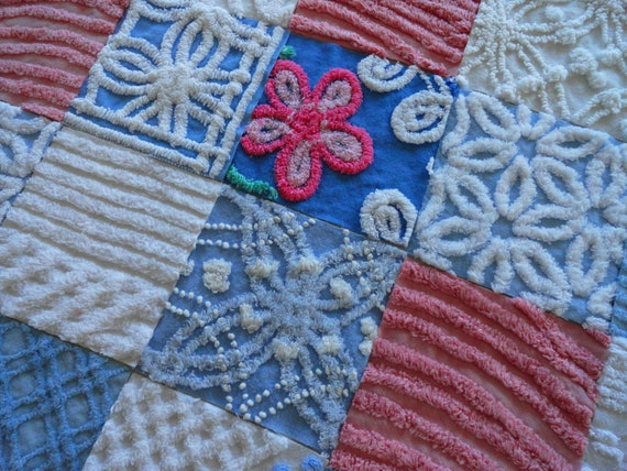 20 Blue, Pink, and White Vintage Chenille Six inch Quilt Squares Kit
