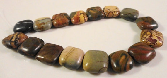 Picasso Jasper Gemstones 12x12mm Flat Puffed Square Red Creek Jasper Natural Multicolor Gemstone Beads on a 7 1/2 Inch Strand with 16 Beads