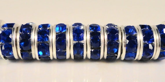 Blue Rhinestone Rondelle Beads 6mm Royal Blue Silver Plated Metal Acrylic Crystal Rhinestone Spacer Beads for Jewelry Making 50 Loose Beads
