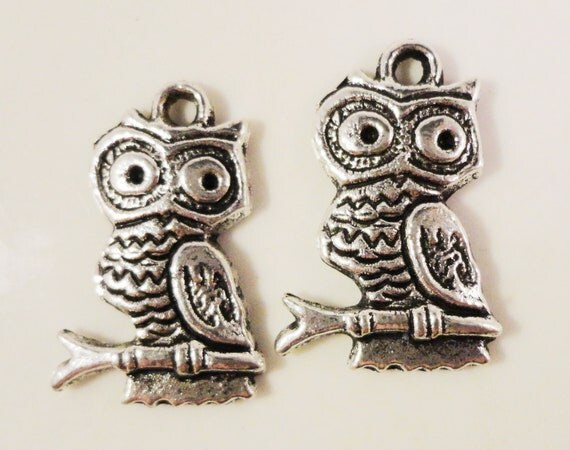 Silver Owl Charms 22x15mm Antique Silver Tone Metal Owl Bird Charm Pendant Jewelry Findings 10pcs