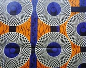 1 meter of blue and orange West African wax ankara cotton.