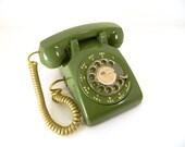 Vintage Avocado Green Rotary Phone Western Electric