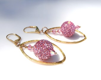 Pink Pave Earrings Gold Framed Baby Pink Crystal Ball Chandelier Earrings