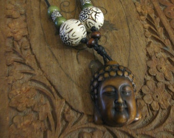 Wood buddha necklace , wood buddha pendant
