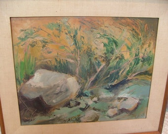 Midcentury California Impressionist  Painting By ALBERT LINESCH Rocks In A Stream