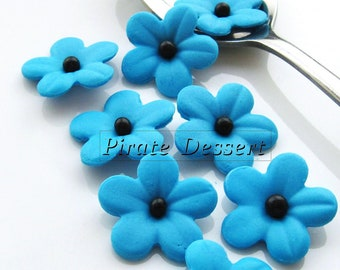 BOLD BLUE Sugar Flowers - 1 inch (25mm) Fondant Blossoms - Edible cake decorations (Bold Blue Berry) (12 pieces)