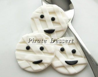 edible halloween cupcake toppers mummy fondant cake decorations halloween cupcakes 6 pieces - Edible Halloween Decorations