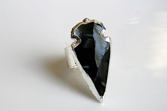 Black Obsidian Arrowhead Ring Edged in Silver