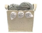Felt Basket - Ecru Felt and White Roses- Gift for Mom-  for Woman-Home Decoration- Christmas Gift