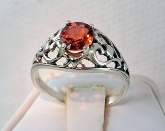 Tourmaline Ring, Copper Color, 0.88 Carat, Sterling Silver, Filigree Ring, Size 7