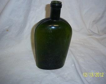 1890's SSP Olive Green Pint Whiskey Liquor Flask Boston, Mass