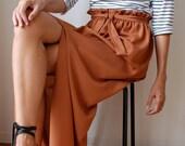 Fall colour bronze rust gold silk long maxi skirt, paper bag waist, front slit elastic waist sash belt. Size M/L