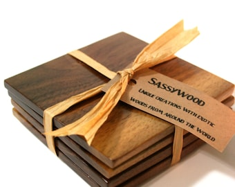Walnut Wood Coaster Set of 4 - Free shipping in US