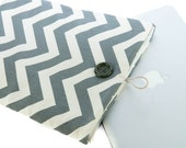 13 inch laptop Macbook Pro Cover Padded Case Sleeve - Linen with Gray and White Chevron