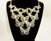 Vintage Golden Butterfly Bib Necklace