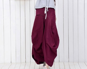 Maxi Linen Skirt - Raspberry Red Casual Modern Contemporary Urban Streetwear Tiered Draped Youthful Teenager Skirt (C789)