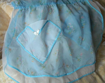 Vintage Organza Apron, Reversibile, Blue, White and Floral,  Shabby Chic, 1960s