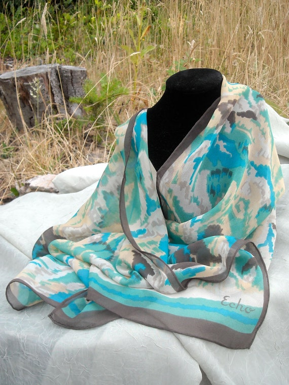 RESERVED FOR JEMIMA Vintage Echo Silk Chiffon Scarf, Long, Light and Airy, Aquas, Turquoise and  Charcoal