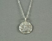 Hammered Disc Necklace, Sterling Silver Chain, Simple, Cute, Pretty Necklace