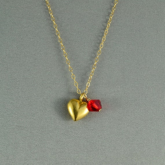 Vermeil Petite Heart Charm and SWAROVSKI Crystal Bead Necklace, Birthstone, 14K Gold Filled Chain, Beautiful Necklace